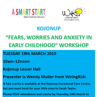 """Kojonup –  """"Fears, Worries and Anxiety in Early Childhood"""" Workshop"""